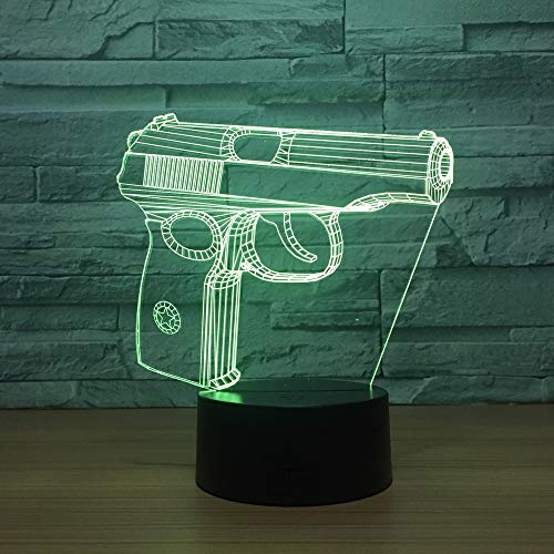 Pistole 3D Kinder Geschenk Nachtlicht Touch Kleiderschrank Nacht USB Benutzerdefinierte USB LED Tischlampe Luminaria De Mesa 3D Kinder Geschenk