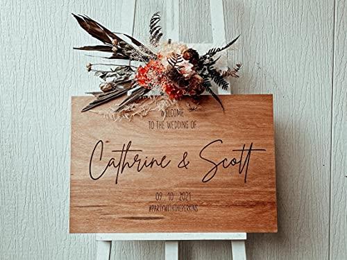 Panneau de bienvenue en bois pour mariage, mariage, mariage, rustique, décoration, fiançailles, 45,7 x 61 cm #b166