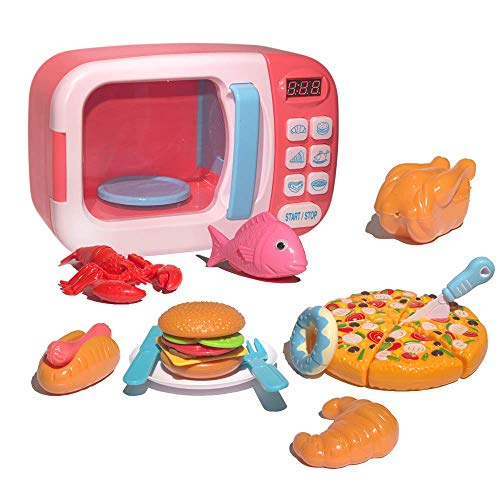 Microwave Kitchen Toys Play Set Pretend Accessories Fake Food Educational Toys Awareness Growth Partner Suitable for boy and Girl 3 4 5 6 Years Old(Pink)