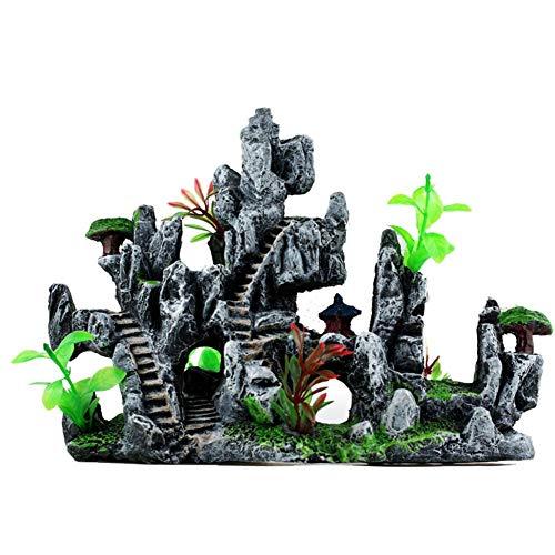 EZIZB Ornamente Für Aquarien Hintergrunddekor Für Aquarien Simulation Berg Landschaftsgestaltung Dekoration Für Aquarium Kleines Fischversteck