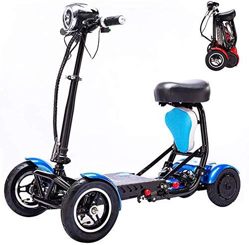 Silla de ruedas plegable portátil para el hogar Triciclo eléctrico para personas mayores Discapacitados Scooter Motor sin escobillas Frenos de doble disco movilidad al aire libre con LED,Azul,30~35km