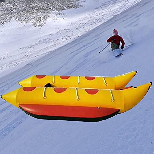 Barco Banana De Agua para 6 Personas, Kayak Inflable con Bomba De Aire, Parque AcuáTico Flotante para Adultos Y NiñOs,Amarillo