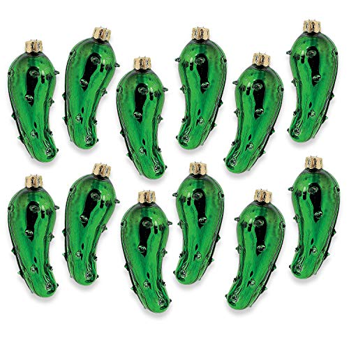 Fun Express - Hand-Blown Glass Pickle Ornaments for Christmas - Home Decor - Ornaments - Novelty - Christmas - 12 Pieces