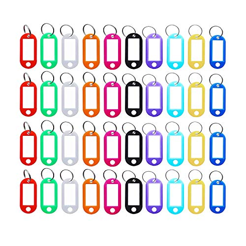 200 PCS Id Labels Tags with Split Ring Plastic Key Tags with Label Window(10 Colors) (200 PCS)
