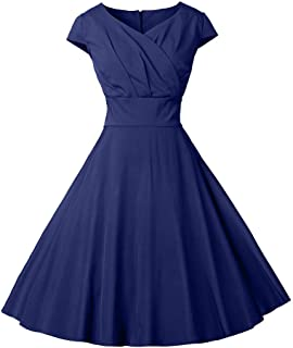 LONGYING Women's Vintage 1950s V-Neck Cap Sleeve Elegant Midi Knee Length Cocktail Party Swing Dress