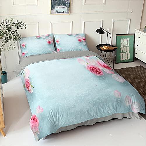 XSXS Biancheria da letto con motivo floreale, in microfibra, copripiumino e 1/2 federe con chiusura lampo, adatta per la camera della famiglia (motivo 5,135 x 200 cm)