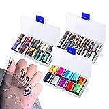 30 Rouleaux Nail Art Sticker Autocollant d'astuce, FoilSticker Ongles de Transfert, Autocollant Laser ciel étoilé pour DIY Nail Décoration (Style 2)