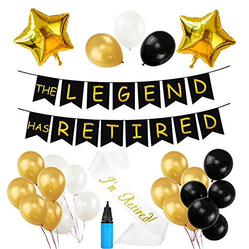 THE LEGEND HAS RETIRED Party Decorative Banner, 30 Pcs Latex Balloons Retired Sash Ideal for Retirement Party Decorations with Air Pump