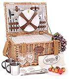 Les Jardins de la Comtesse – Cesta de picnic de mimbre – 2 personas/nevera isotérmica / platos / copas de vino / Timbales de aluminio – Tejido color blanco y gris – 42 x 30 x 23 cm