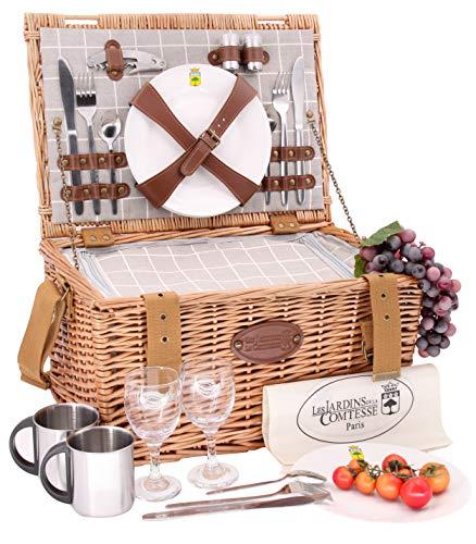 Les Jardins de la Comtesse – Cesta picnic de mimbre Concorde – 2 personas/nevera isotérmica, platos, copas de vino/tazas de metal – Tejido color blanco y gris – 42 x 30 x 23 cm