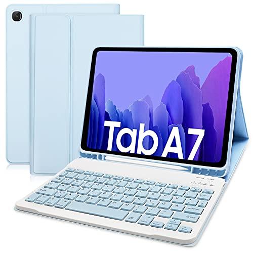 Hofsos Hülle mit Tastatur für Samsung Galaxy Tab A7 10.4 2020 - Schutzhülle mit Pencil Halter Wireless Abnehmbare Tastatur (Deutsches QWERTZ) für Samsung Galaxy Tab A7(T500/T505/T507) (Himmelblau)