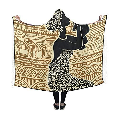 Zemivs Mit Kapuze Decke Silhouette schöne afrikanische Schwarze Frau Babydecke 60 x 50 Zoll Comfotable Hooded Throw Wrap