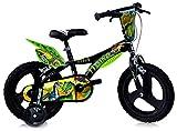 """giordanoshop Bicicletta per Bambino 16"""" 2 Freni Dinosaur Nero e Verde"""