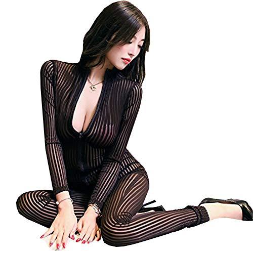 HNGPB Damen Einteiler Ganzkörperanzug mit Streifen, Einteiler, Dancewear, Einteiler, sexy Front-Reißverschluss, Spandex-Body, Nachtclub-Kostüm, Damen, F