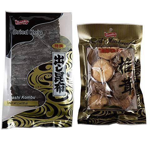 Dashi Kombu (Dried Kelp) and Hoshi Shiitake (Dried Shiitake Mushroom) Set - Natural Dashi Ingredients to make rich and flavorful Japanese Broth for Miso Soup, Noodle Soup, Nabe and more.