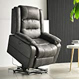 Electric Power Lift Recliner Chair, Leather-Like Fabric Recliners for Elderly, Home Sofa Chairs with Heat & Massage, Remote Control, 3 Positions, 2 Side Pockets and USB Ports, Black