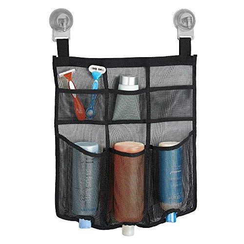 mDesign Duschtasche zum Aufhängen - schwarze Duschablage - Saugnapf-Halterung mit Power-Lock-Technologie - tolle Aufbewahrungstasche (hängend) für Duschgel, Shampoo, Rasierer & Co.