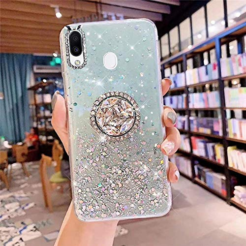 Herbests Kompatibel mit Samsung Galaxy M20 Hülle mit Ring Halter Ständer Glänzend Bling Strass Glitzer Stern Transparent TPU Silikon Schutzhülle Handyhülle Tasche Crystal Clear Case,Grün