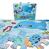 EACHHAHA Puzzles de Suelo,Gran Pieza del Rompecabezas de los niños,35 Piezas,Adecuado para niños de 3 4 5 6 años,Oceano