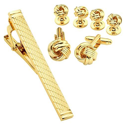 JOVIVI Mens Knot Cufflinks and Studs and Tie Clip Bar Set Tuxedo Shirts Business Wedding,Golden Tone