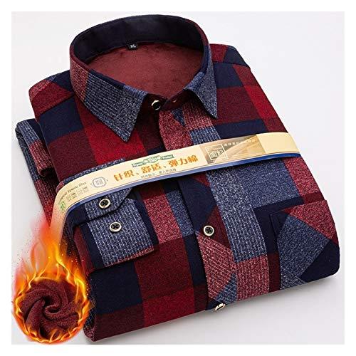 Camisa de invierno cálida para hombre de ajuste regular más grueso blusa asiática talla grande a cuadros casual ropa de manga larga (color: 219, talla: asiática talla 6XL 46)