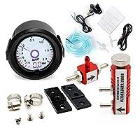 2インチ/ 52ミリメートルターボ・ブーストゲージ液晶7色の仮想ポインタ表示アジャスタブルコントローラーキットをターボ表バー (Color : Red Controller)