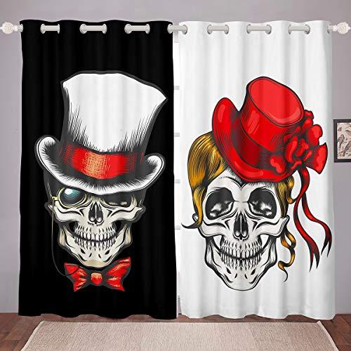 Loussiesd - Cortinas opacas con diseño de calavera para mujer, hombre, estilo gótico, para decoración de la habitación, 66 x 90 cm