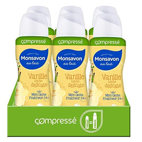 Monsavon Desodorante Vanilla Toda Délicate Compresado, 6 x 100 ml (600 ml)