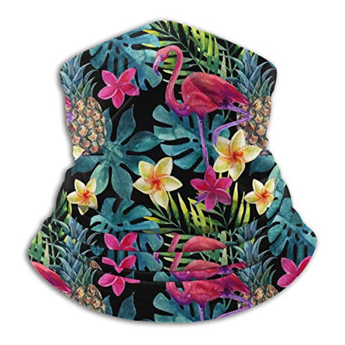 Neck Gaiter Flamingo Pineapple Flower Leaves Scarf Bandana Face Mask for Motorcycle Cycling Riding Running Headbands