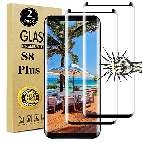 【2 Pack】Galaxy S8 Plus Screen Protector, Full Coverage Bubble-Free 9H Scratch-Resistant HD Clear 3D Curved Dot Matrix Tempered Glass Screen Protector for Samsung S 8 Plus
