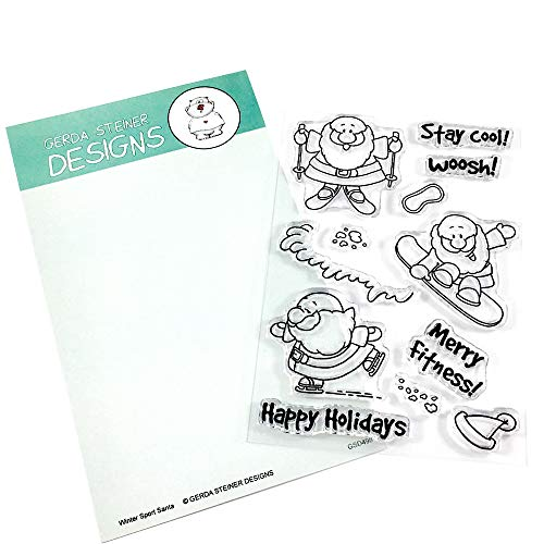 Sportsy Santa Clear Stamp Set 4x6 Inches