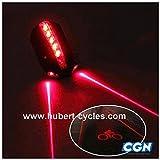 Motodak Eclairage Velo Pile AR atoo Laser Noir 5 LED 2 Fonctions (Fixation Tige de Selle)