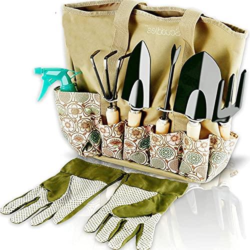 Scuddles Garden Tools Set - 8 Piece Heavy Duty Gardening Kit with Storage Organizer, Ergonomic Hand...