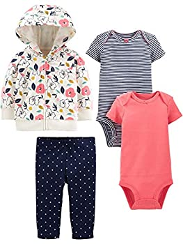 Simple Joys by Carter s Girls  4-Piece Jacket Pant and Bodysuit Set Floral 3-6 Months