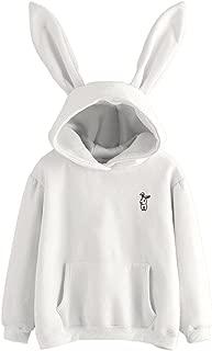 VIASA_ Women Hoodie Womens Bunny Hoodie Sweatshirt Pullover Tops Blouse Girls Hooded Sweatshirt Pullover Hoodie Pull-Over