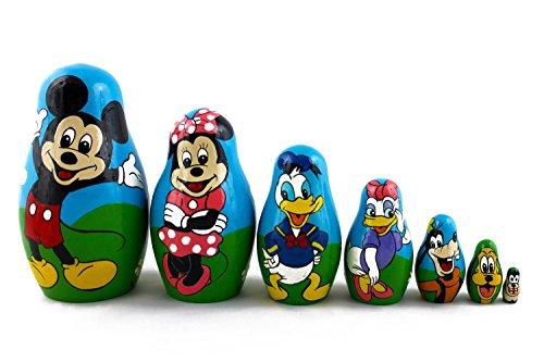 Matryoshka Babushka Russian Nesting Wooden Stacking Doll Best Cartoon Mickey Mouse 7 Pcs