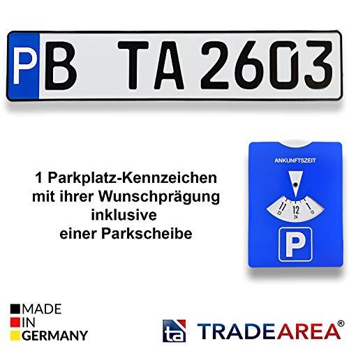 TA TradeArea hochwertige geprägte Parkplatz-Kennzeichen | Schilder inklusive Einer Parkscheibe in der Göße 520x110 mm (Wunschprägung)