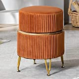 Storage Ottoman Foot Rest, Velvet Round Ottoman Coffee Table Vanity Stool Makeup Chair Footrest Upholstered Swivel Stool, Modern Accent Foot Stool, Suitable for Living Room Bedroom (Pumpkin Brown)