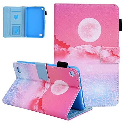 Case for Kindle Fire 7' 2019 2017 2015 Release, UGOcase Auto Wake Sleep Premium PU Leather Wallet Case Flip Stand Cover with Card/Pen Holder for Fire 7 9th/7th/5th Gen 2019/2017/2015 - Pink Moon