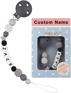 Personalized Pacifier Clips, TYRY.HU BPA Free Silicone Teething Beads Binky Teether Holder for Baby Boys Name Shower Gift(Grey)