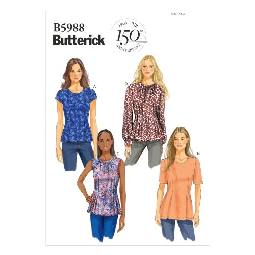 BUTTERICK PATTERNS B5988 Misses'/Misses' Petite Top Sewing Template, Size B5