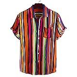 Camisas de Manga Corta para Hombre Camisas de un Solo Pecho con Estampado de Rayas pintadas de un Solo Bolsillo Slim Fit Summer Beach Party Medium