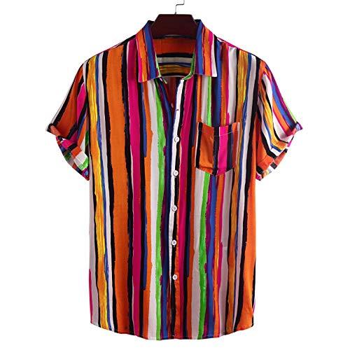 Camisa de Manga Corta para Hombre, diseño Colorido de Moda, Camiseta Informal Holgada con Estampado de Rayas de Verano Ajustado, con Bolsillo XL