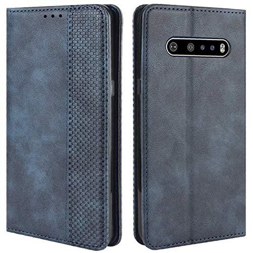 HualuBro Handyhülle für LG V60 ThinQ Hülle, Retro Leder Stoßfest Klapphülle Schutzhülle Handytasche LederHülle Flip Hülle Cover für LG V60 ThinQ 5G Tasche, Blau
