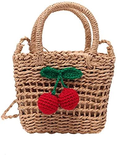 Bolsos de compras tejidos de ratán para mujer, bandolera de cereza, bandolera de paja, bolso de mensajero de verano para mujer, bandolera de playa, bolsos-1-2
