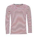 SOLS - Camiseta a Rayas de Manga Larga Modelo Marine Hombre Caballero (Extra Grande (XL)) (Blanco/Rojo)