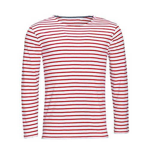 SOLS Herren Marine T-Shirt, gestreift, langärmlig (3XL) (Weiß/Rot)