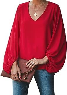 Womens Chiffon Blouses Puff Long Sleeve V Neck Elegant Casual Oversized Shirts Tops