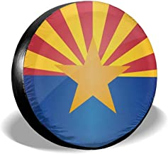 HAINANBOY Tire Covers Flag of Arizona Potable Ployster Universal Spare Tire Wheel Covers Bag for Jeep Trailer RV SUV Truck Camper Travel Trailer Accessories(14,15,16,17 Inch)