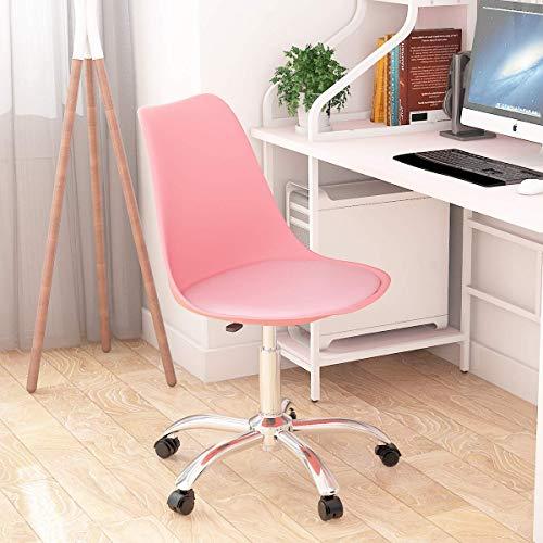 Silla de escritorio de ordenador para el hogar, altura ajustable con asiento acolchado de polipropileno para oficina, salón, silla giratoria, color rosa